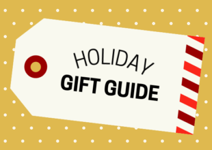 """Festive gift tag graphic that reads """"holiday gift guide"""" set on a mustard yellow background"""